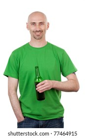 Bald headed young man with bottle of beer; isolated on white background.