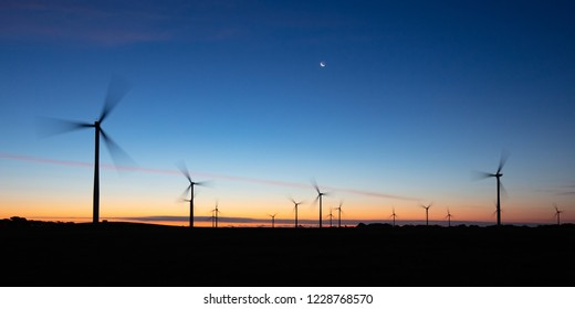 The Bald Hills Wind Farm near Walkerville at dusk in the Bass Coast region of Victoria, Australia