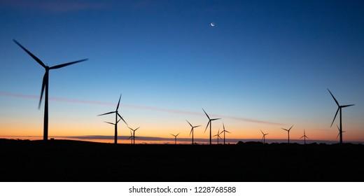 The Bald Hills Wind Farm near Walkerville at dusk in the Bass Coast region of Victoria, Australia