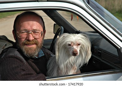 Bald the man of average years with a white dog in the car