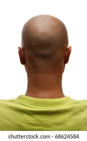 Bald man back, isolated on white background