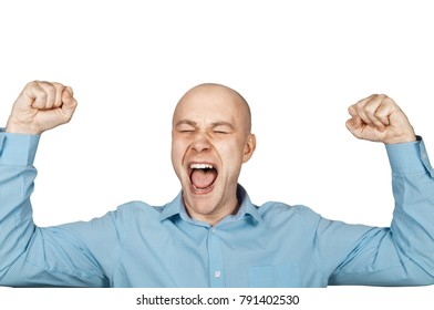 Bald man in blue shirt   on a white background rejoices in victory