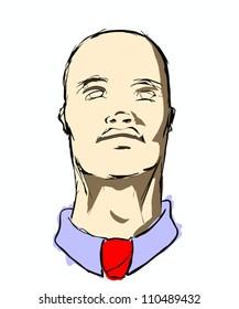 Bald Man Looking Up