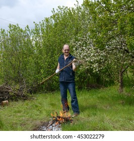 Bald mature man is standing with rake near small bonfire on bright green grass in the garden.