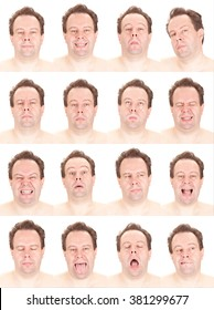bald red head adult caucasian man collection set of face expression like happy, sad, angry, surprise, yawn isolated on white