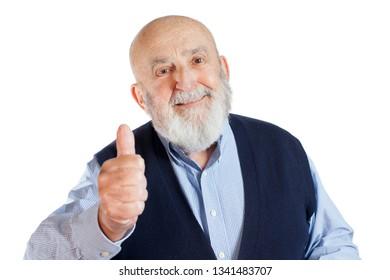 bald senior man with thumb up