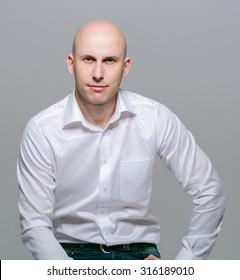 bald young man portrait