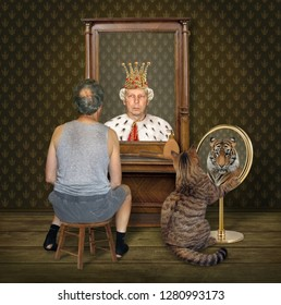 The balding man on a chair and his big cat look at their funny reflections in the different mirrors at home.