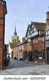 BALDOCK, HERTFORDSHIRE/UK - April 5, 2017. Sun Street with church of St Mary the Virgin, in background, Baldock, Hertfordshire, England, UK