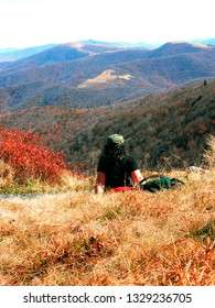 The Balds, North Carolina, Tennessee border, USA, highest mountains along Appalachian Trail, Hiker takes a break near Carver's Gap, Appalachian Trail, October 10 2003