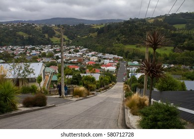 Baldwin Street, the steepest street in the world, in Dunedin, New Zealand.