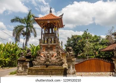 Bale kul-kul or Balinese drum pavilion at Balinese Hindu temple Pura Dalem Suka Luwih, Batuan village, Kabupaten Gianyar, Bali, Indonesia