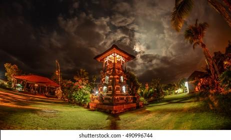 The Bale Kulkul of Balinese Hindu Temple in pura Giri Kusuma - Sorowako - Sulawesi - Indonesia