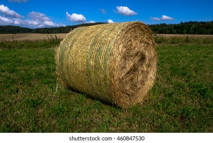 Bale of straw on the field - ready for pick up