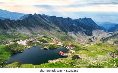 Balea Lake seen from above. Glacial lake, on Transfagarasan highway in Carpathian mountains, Romania in summer