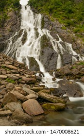 Balea waterfall on the transfagarasan mountain long exposure portret