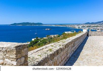 Balearic islands, Elvissa (Ibiza) old town (Dalt Vila)  panoramic view from the ramparts area behind the Cathedral