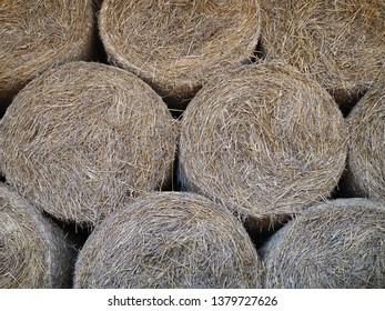 Bales of hay, straw rollers, close up of stacked bales of hay