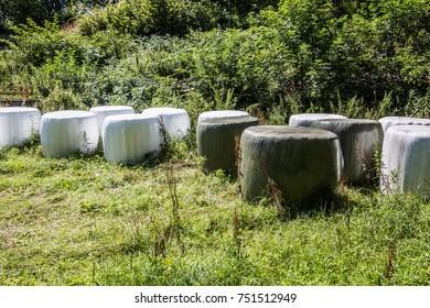 Bales of hay as winter storage