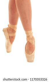 Balet dancer foot isolated over white background