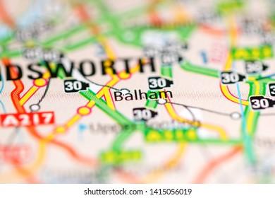 Balham. United Kingdom on a geography map