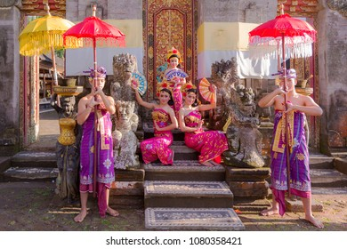 BALI - 2018 April 27 : Bali teenager performing traditional Indonesian dance at Ubud Palace Bali theater in Bali, Indonesia.