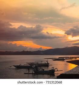 Bali. Beautiful sunset landscape in Candidasa, Indonesia. Nature Scenic Wallpaper. Square Image.