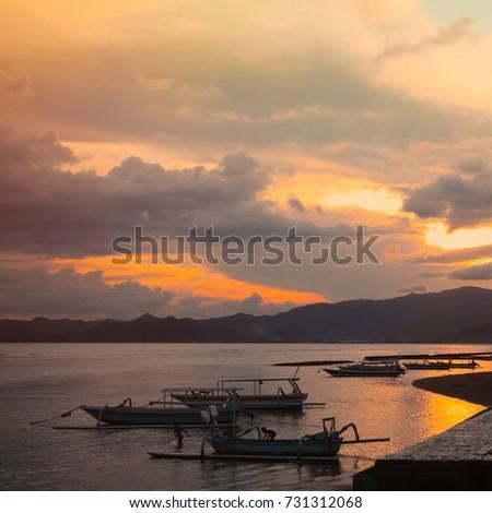 Beautiful Sunset Landscape In Candidasa Indonesia Nature Scenic Wallpaper Square Image