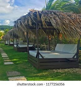 Bali Beds on a breezy oceanfront resort, Jamaica