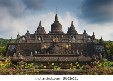 Bali budhist temple Brahma Vihara-Arama Banjar panorama close to Lovina, Indonesia, small version of Borobudur temple on Java