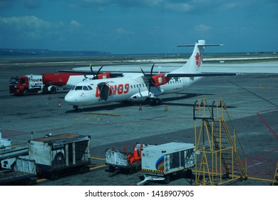 BALI, DENPASAR / INDONESIA - MAY 17 2019: Wings Air Atr Aircraft is in the Parking Position in Bali Ngurah Rai International Airport