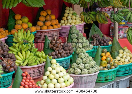 Bali Fruit Stall Baskets Piled High Stock Photo Edit Now 438454708