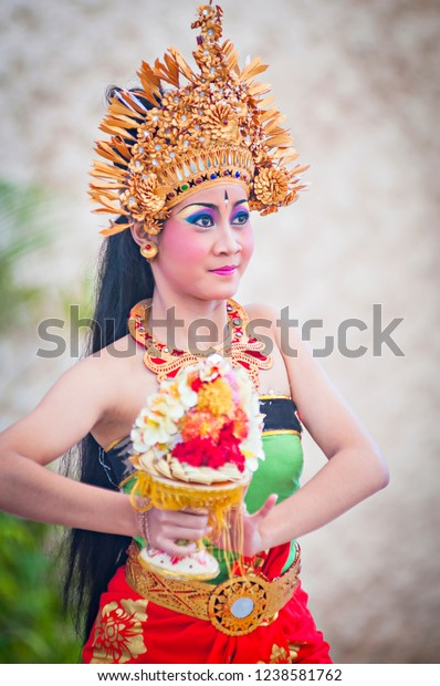 Bali, Indonesia (08/2011) : girl performing famous traditional Indonesian dance at GWK Park in Bali, Indonesia.
