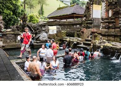 BALI, INDONESIA, 12 February, 2017: Holy Spring Water Tirta Empul Hindu Temple , Bali Indonesia
