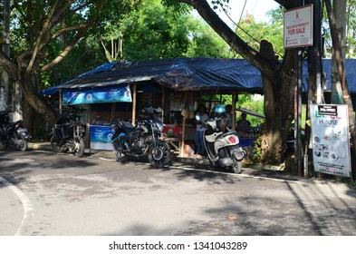 BALI, INDONESIA- 14 FEB, 2019: View of street food stall (warung) in Bali. Warung is a type of small family-owned business in Indonesia