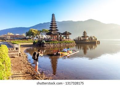 BALI, INDONESIA - 19 Jan 2019: Artistic HDR photo of Ulun Danu Beratan Temple in Bali, Indonesia