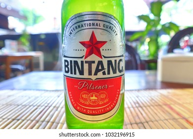 BALI, INDONESIA. 2018 Feb 1st. Bottle of Bintang Beer, Most famous beer brand in Indonesia.