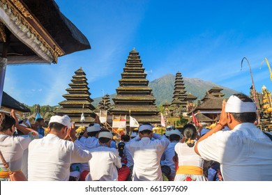 Bali, Indonesia - 24 September 2015 : Balinese people going to pay a worship at Pura Besakih, the most important, the largest and holiest temple of Hindu religion in Bali
