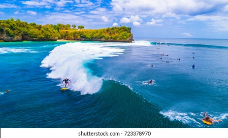 BALI, INDONESIA - 24 September, 2017: Unidentified surfers at Balangan beach, Bali.