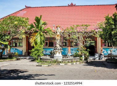 BALI, INDONESIA - 25. APRIL, 2018: Balinese school building in Ubud District on Bali island in Indonesia