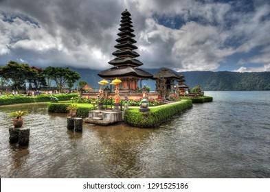 BALI, INDONESIA - 29 May 2015: Artistic HDR photo of Ulun Danu Beratan Temple in Bali, Indonesia