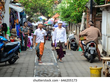 Bali, Indonesia - Apr 21, 2016. People walking at the Central Market in Bali, Indonesia. Bali is a lush island paradise, famed for its art, culture, and recreation.