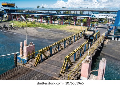 BALI, INDONESIA - APRIL 14, 2018 : Port of Banyuwangi Gilimanuk located in Ubud in Indonesia, Ubud is a town on the Indonesian island of Bali in Ubud District
