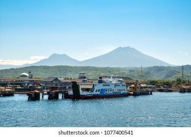 BALI, INDONESIA - APRIL 14, 2018 : Ferry in Banyuwangi Gilimanuk in Ubud, Bali Indonesia