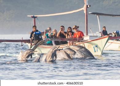 BALI, INDONESIA, April 2016: Holiday in Bali - Dolphin Beach Lovina Bali