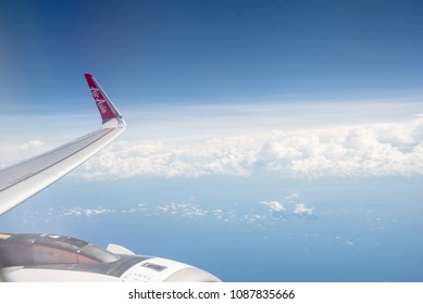 BALI, INDONESIA- APRIL 23, 2018: View from Air Asia Airline near window during flight from BALI INDONESIA to Bangkok,Thailand.