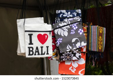 Bali, Indonesia - August 02, 2019: A canvas bag with I Love Bali sign in souvenir shop, travelling to indonesia concept.