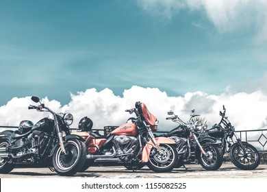 BALI, INDONESIA - AUGUST 12, 2018: Harley Davidson motorcycles on the parking close to Batur volcano.