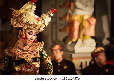 Bali, Indonesia - August 13: Balinese dancer performing traditional Legong dance at religious ceremony at Pura Saraswati Temple in Ubud, Bali, Indonesia.