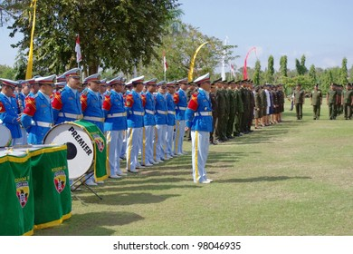 BALI, INDONESIA - AUGUST 17: Army Band taking part in Indonesian Independence day celebrations on August 17, 2010 in Renon Park, Denpasar, Bali. Independence day is the biggest event of the year.